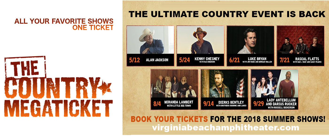 2018 Country Megaticket Tickets (Includes All Performances) at Veterans United Home Loans Amphitheater