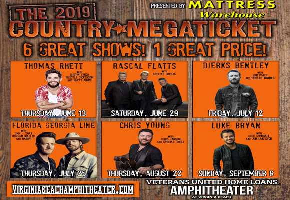 2019 Country Megaticket Tickets (Includes All Performances) at Veterans United Home Loans Amphitheater